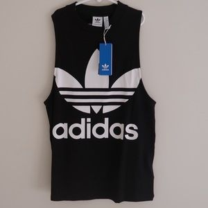 Adidas muscle tank top black and white